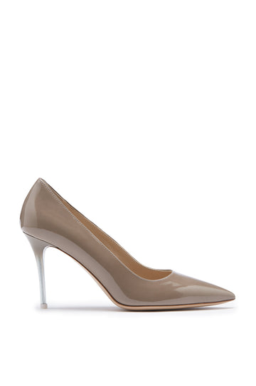 Pointed Leather Pump, Italian calf leather, 9cm plexi heel with a sprayed finish. Color Trench