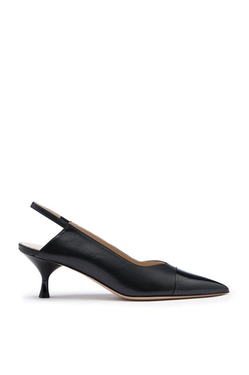 Slingback 5.5 is a pointed Italian leather heel. It features a patent toe cap. Heel height approx 2.2 inches. Color Black Nero