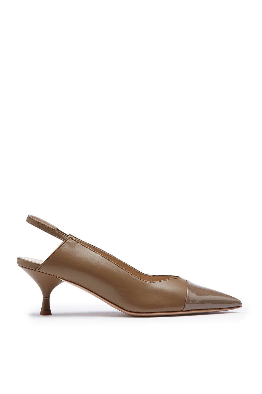 Slingback 5.5 is a pointed Italian leather heel. It features a patent toe cap. Heel height approx 2.2 inches. Color Nude Trench