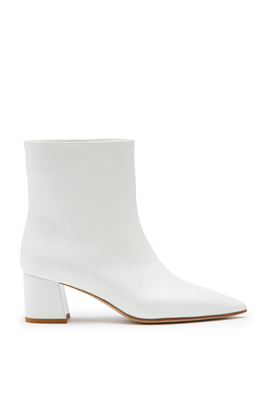 Block Heel Boot, pull on ankle boot, Italian calf leather, loose fit around ankle, block heel, cone toe, Color Bianco