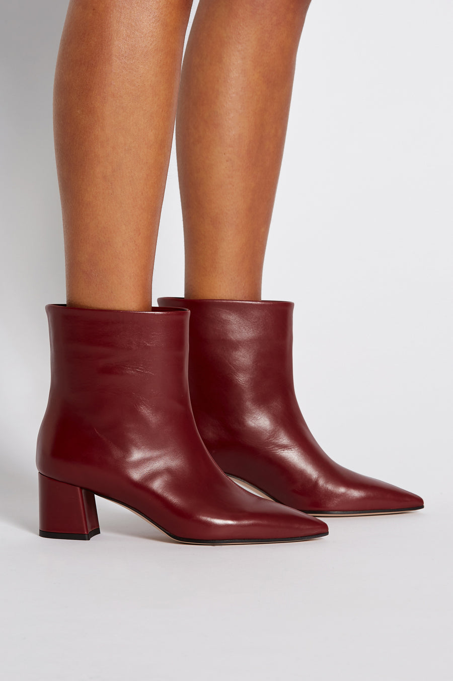 Block Heel Boot, pull on ankle, Italian calf leather. Heel height approx 6cm. Color Red Bordeaux