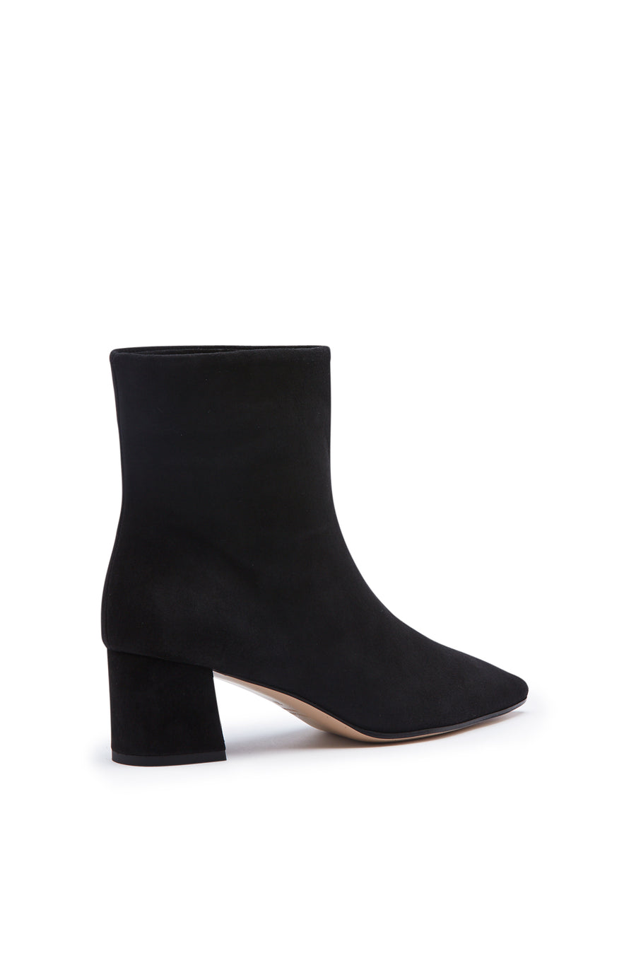 Block Heel Boot, pull on ankle, Italian calf leather. Heel height approx 6cm. Color Black Nero