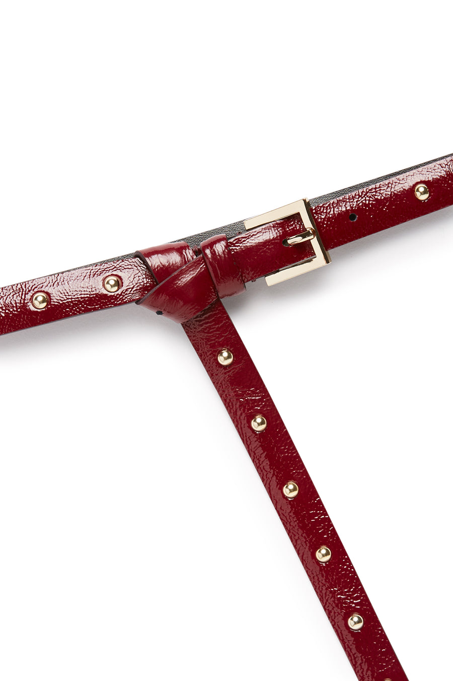 Studded Leather Belt, High Waist, made in Italy. Band width of 1.5cm. Buckle fastening and gold studs. Color Red Bordeaux