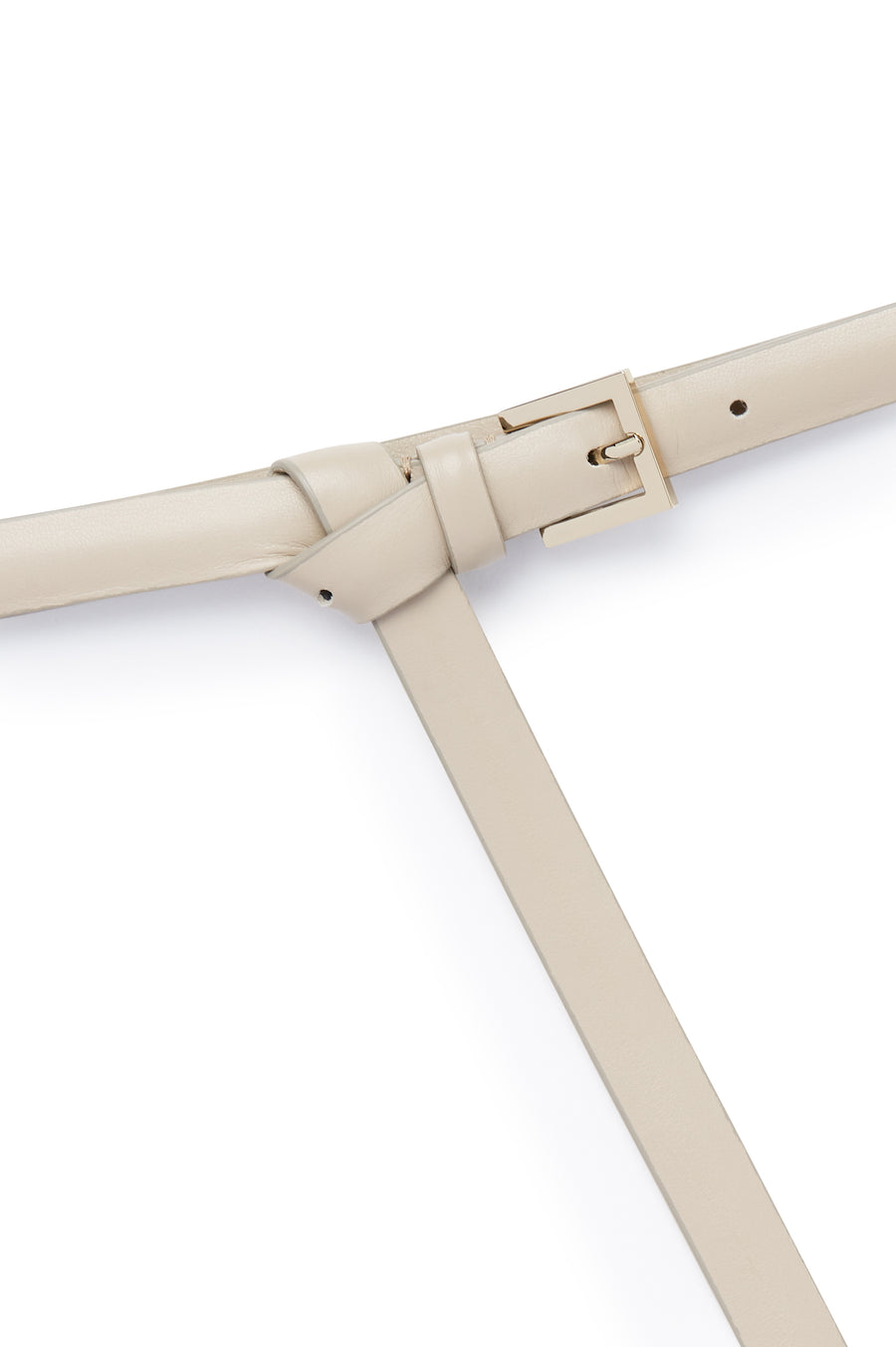 Thin Leather High Waist Belt, Made in Italy, Color Cream Papiro