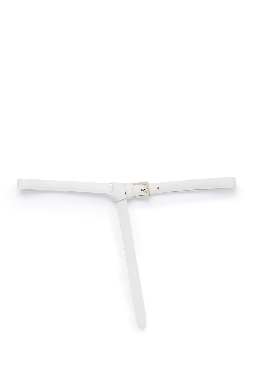 Thin Leather High Waist Belt, Made in Italy, Color White Bianco