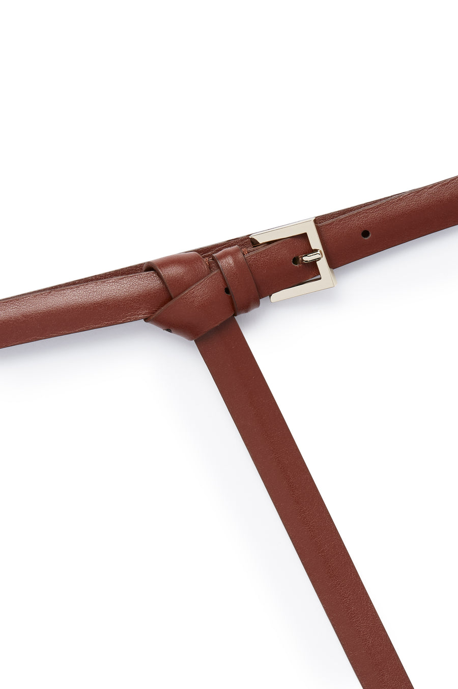 Thin Leather High Waist Belt, Made in Italy, Color Dark Red Moro