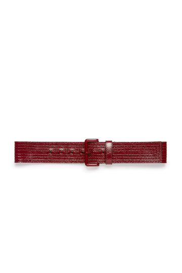 Multi Stitched Belt with Powder Coated Hardware, Made in Italy. Band width of 5cm. Color Red Bordeaux