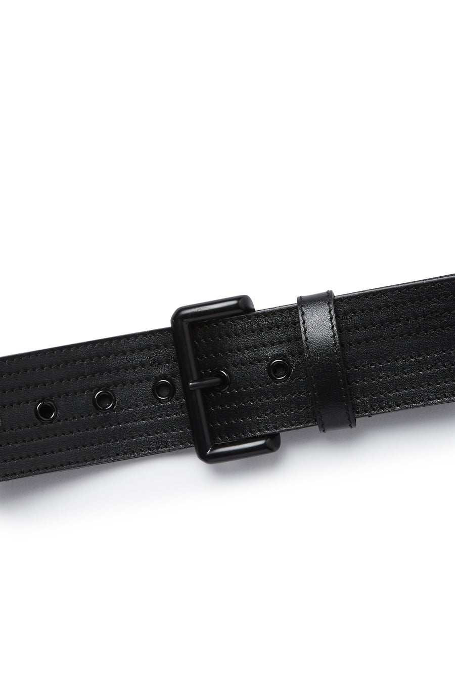 Multi Stitched Belt with Powder Coated Hardware, Made in Italy. Band width of 5cm. Color Black Nero