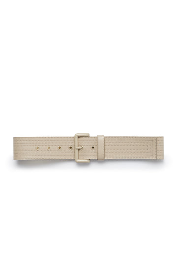 Multi Stitched Belt with Powder Coated Hardware, Made in Italy. Band width of 5cm. Color Nude Papiro