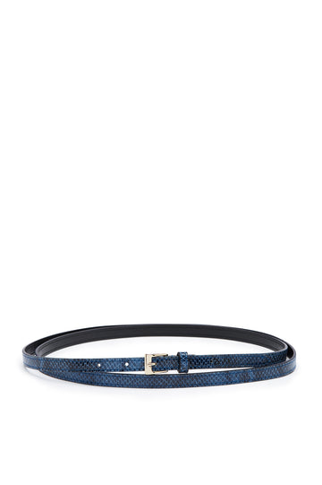 Double Wrap Belt, embossed python finish, Italian Leather. Buckle fastening, 1.2cm band width. Color Blue