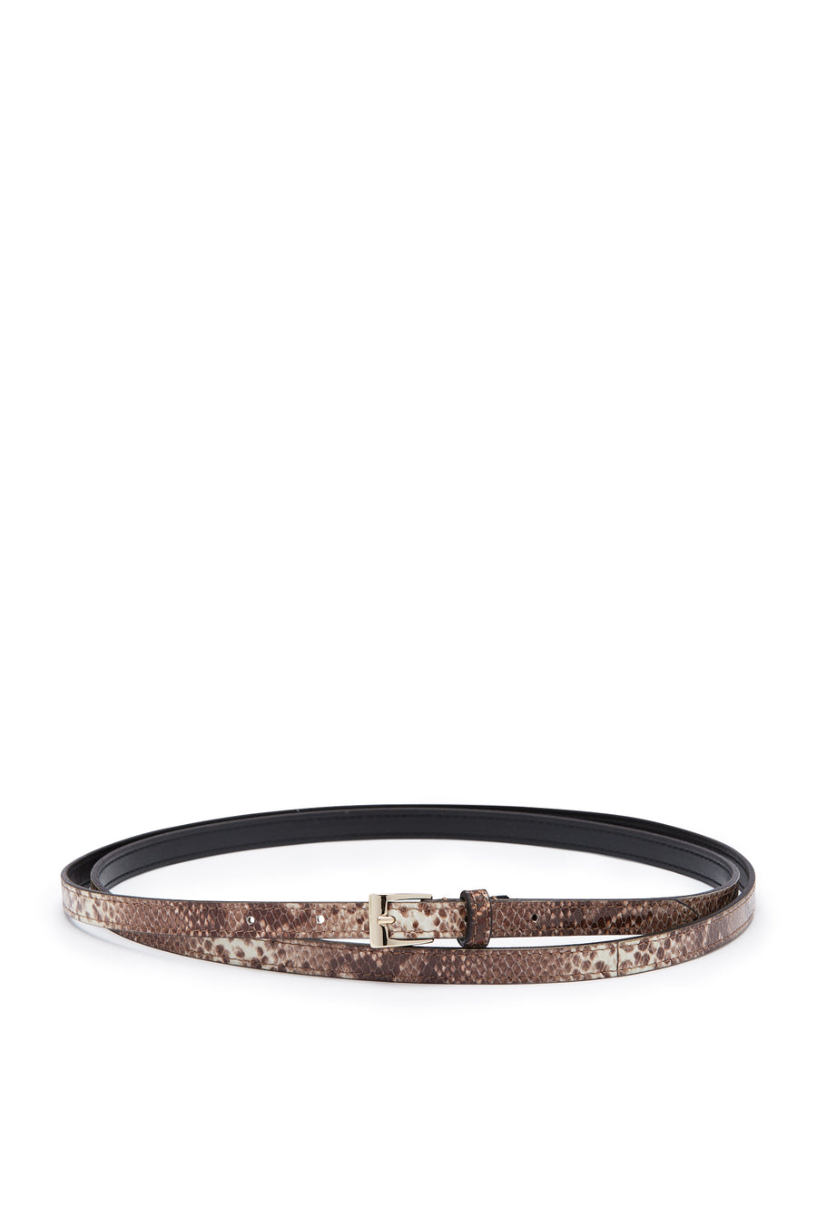 Double Wrap Belt, embossed python finish, Italian Leather. Buckle fastening, 1.2cm band width. Color Multi Brown Cafe