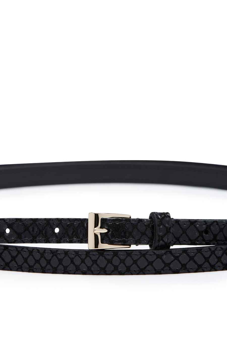 Double Wrap Belt, embossed python finish, Italian Leather. Buckle fastening, 1.2cm band width. Color Black Nero