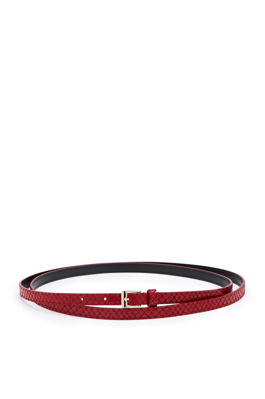 Double Wrap Belt, embossed python finish, Italian Leather. Buckle fastening, 1.2cm band width. Color Red Rosso