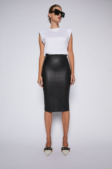 Stretch Leather Pencil Skirt Black - Scanlan Theodore