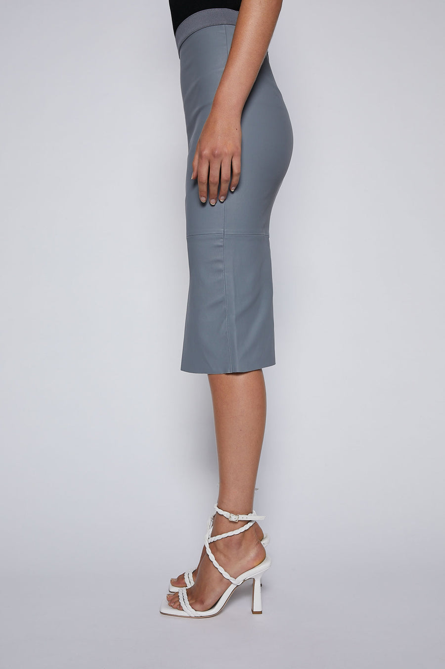 Stretch Leather Pencil Skirt is the staple piece to take your look from desk to dinner