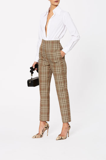Plaid High Waist Trouser Camel - Scanlan Theodore