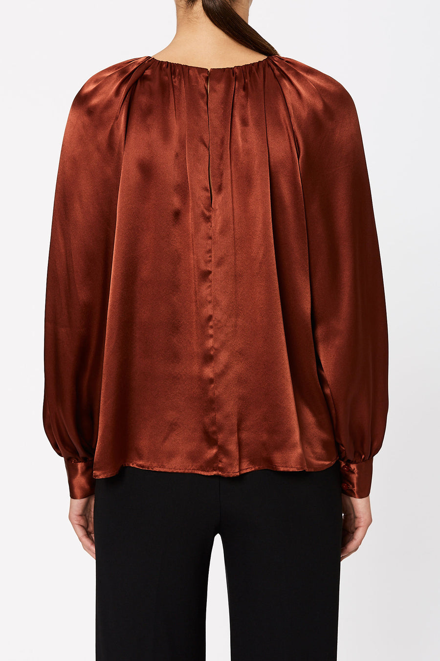 Silk Gather Neck Blouse Cocoa - Scanlan Theodore