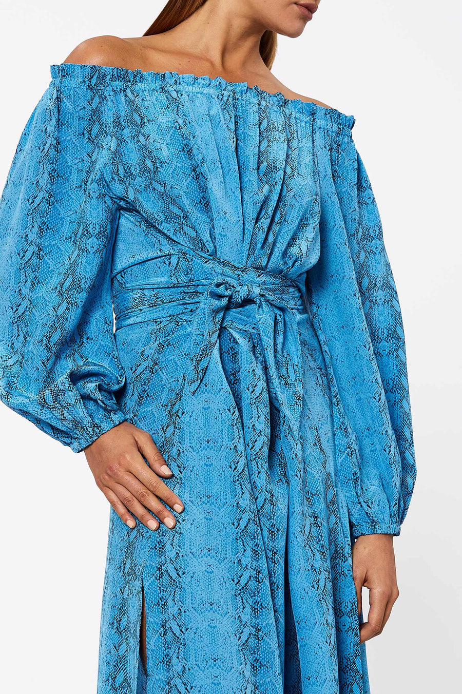 Silk Reptile Print Wrap Dress. Crafted in a breathable silk