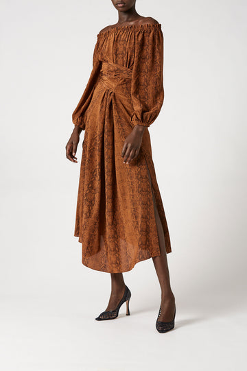 CDC Reptile Print Wrap Dress Cognac - Scanlan Theodore