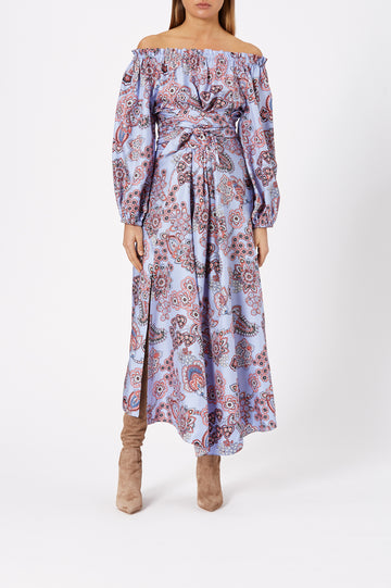 Silk Foulard Wrap Dress Blue - Scanlan Theodore