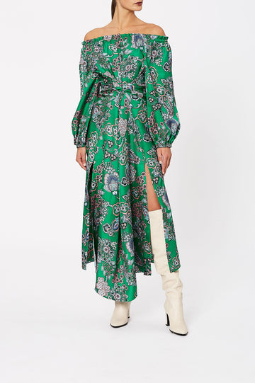 Silk Foulard Wrap Dress Verde