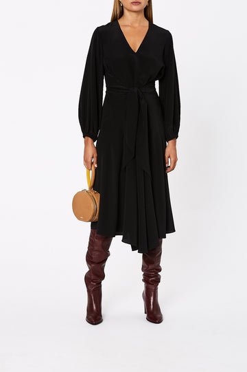 Silk Wrap Dress Black - Scanlan Theodore