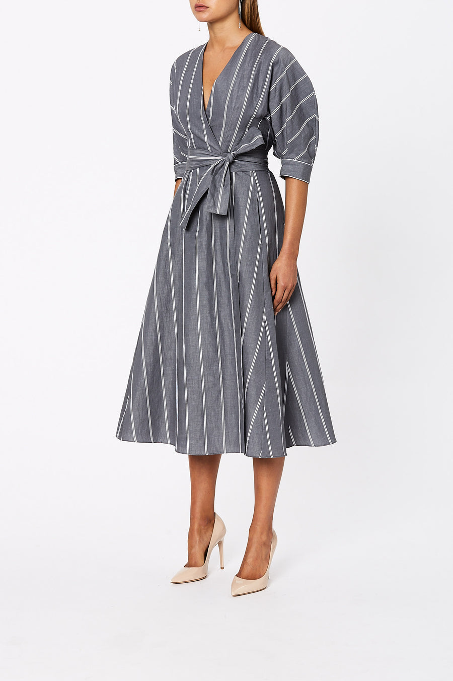 The Stripe Wrap Dress is flattering for all body types