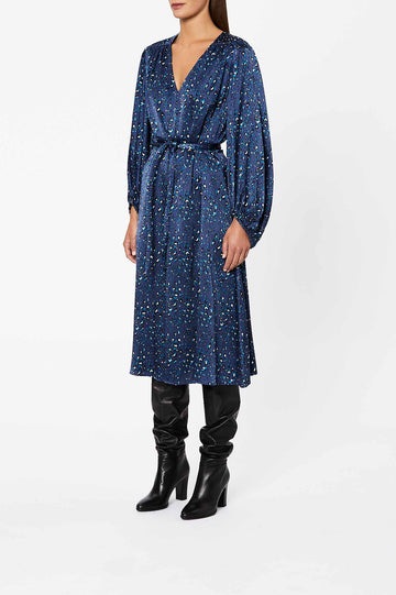 Silk Leopard Dress Navy - Scanlan Theodore