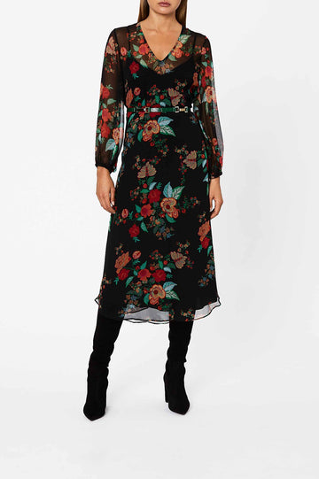 Silk Floral Wrap Dress Black - Scanlan Theodore