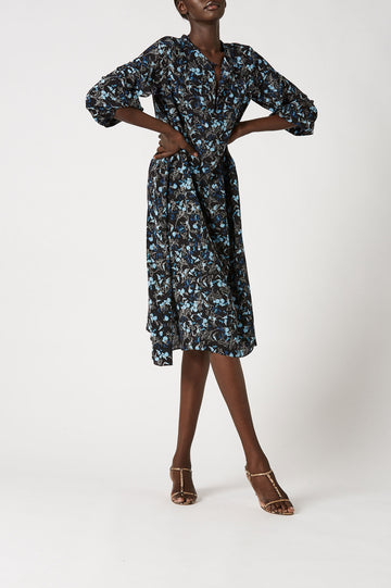 Silk Floral Picot Trim Dress Blue, v- neckline, asymmetric hemline