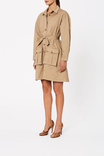 Sateen Patch Pocket Dress Camel - Scanlan Theodore
