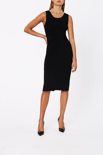 Crepe Knit Panel Waist Dress Black - Scanlan Theodore