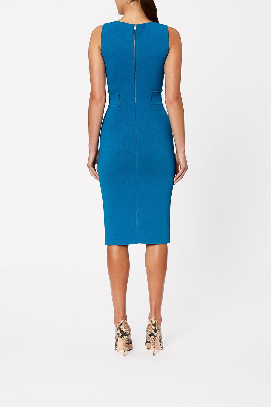 Update your evening style with our Crepe Knit Panel Waist Dress