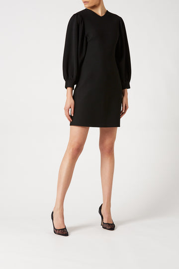 Crepe Knit Gather Shoulder Dress Black - Scanlan Theodore