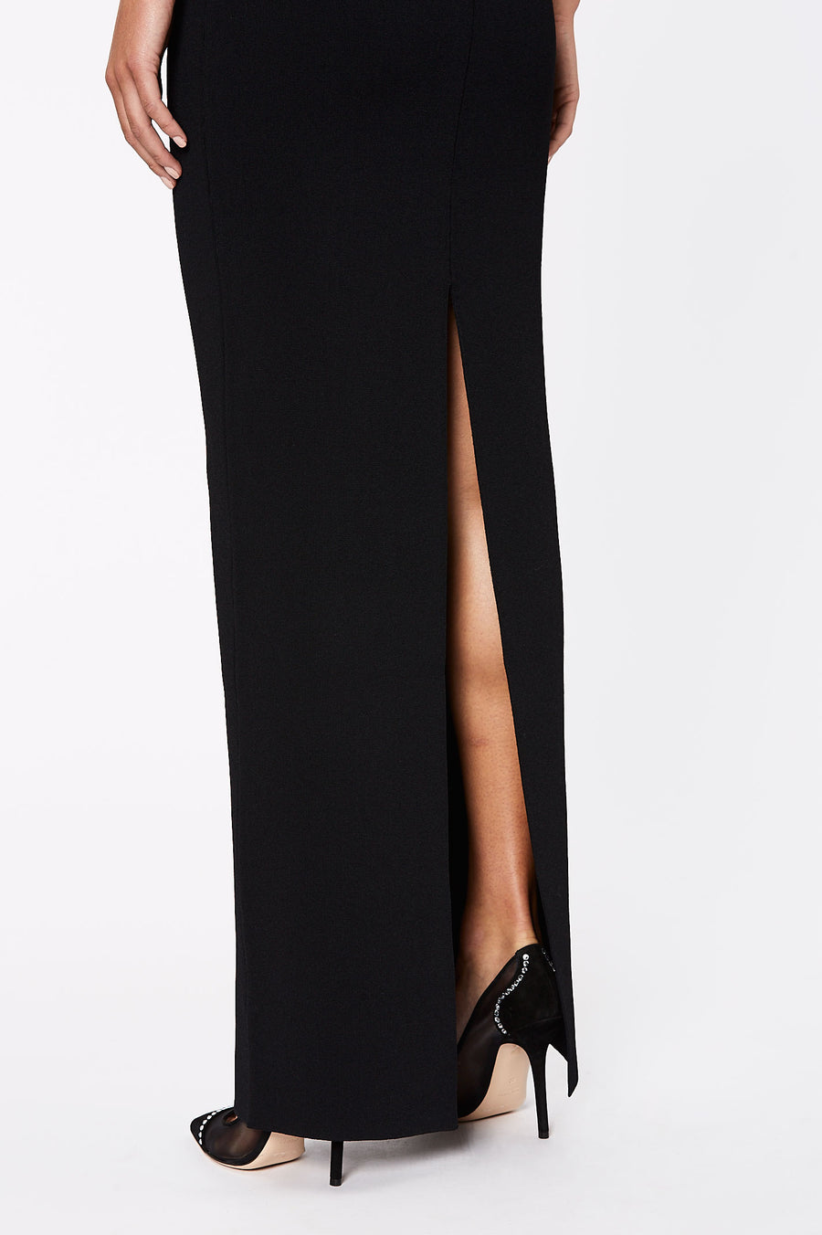 Crepe Knit Long Pencil Skirt Black - Scanlan Theodore