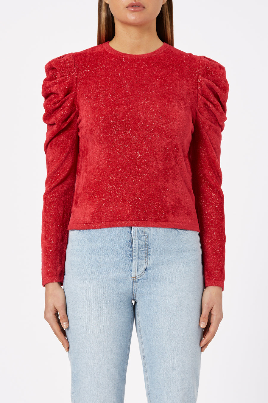 Indulge in elegant basics - the Tinsel Velvet Sweater perfectly captures refined detailing.