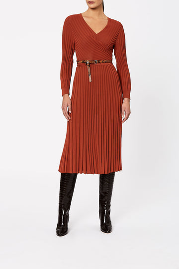 Pleated Rib Wrap Dress 16 Sienna - Scanlan Theodore