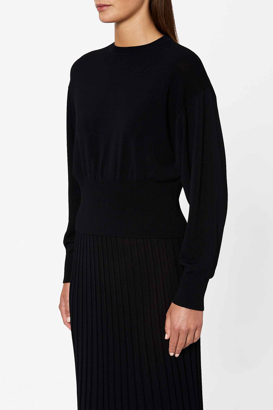 PLEATED RIB COCOON SLV SWTR 14 BLACK
