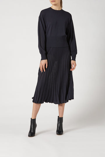 Pleated Rib Cocoon Slv Swtr 14 Navy - Scanlan Theodore