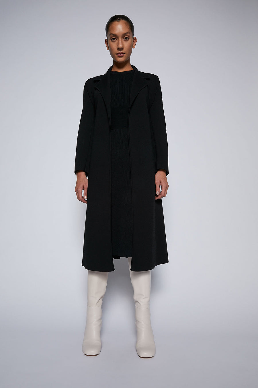 Crepe Knit Belted Coat Black - Scanlan Theodore