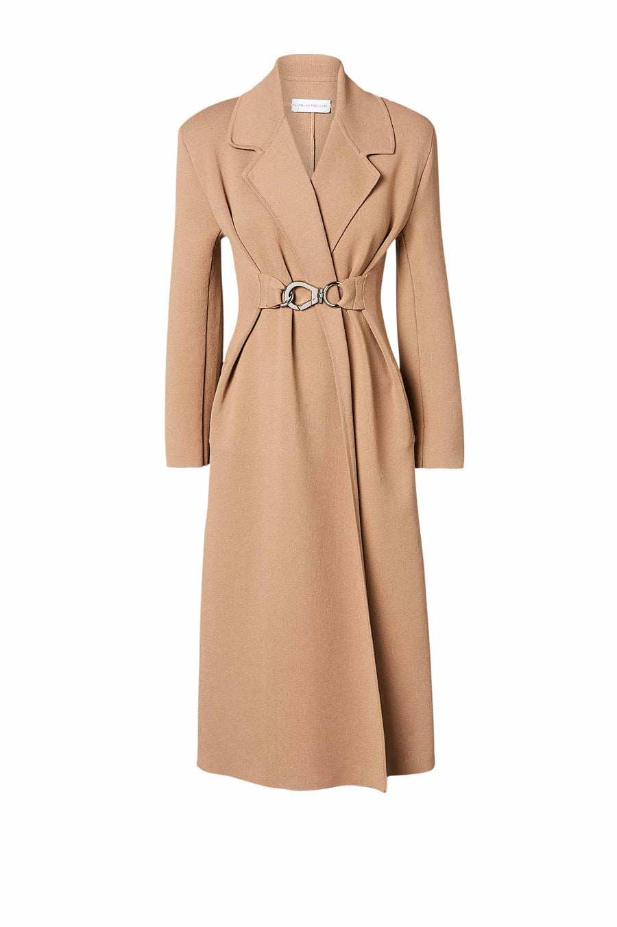 Crepe Knit Belted Coat Latte - Scanlan Theodore
