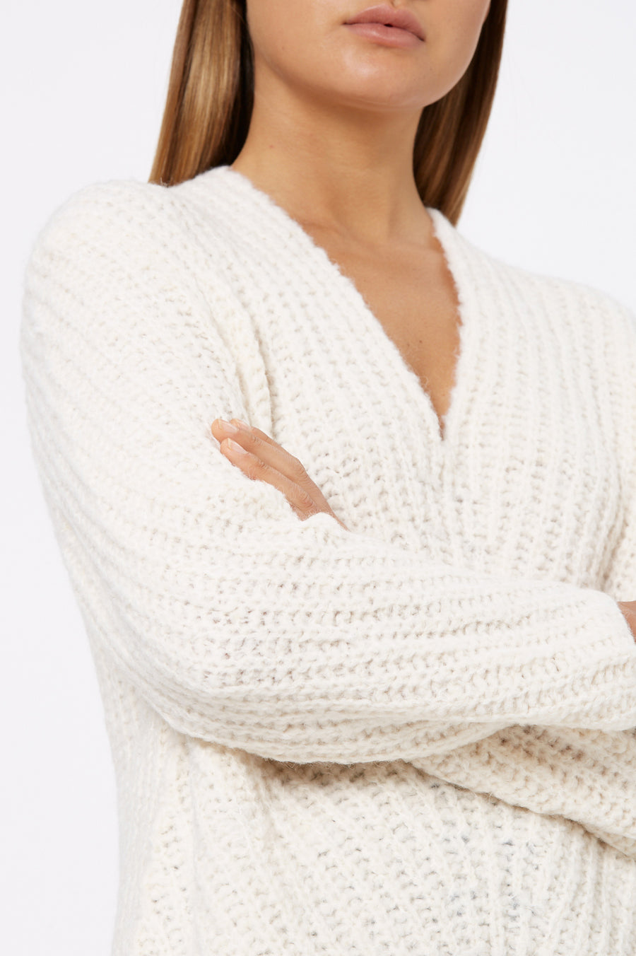 Rib V-Neck Sweater 3 Creme - Scanlan Theodore