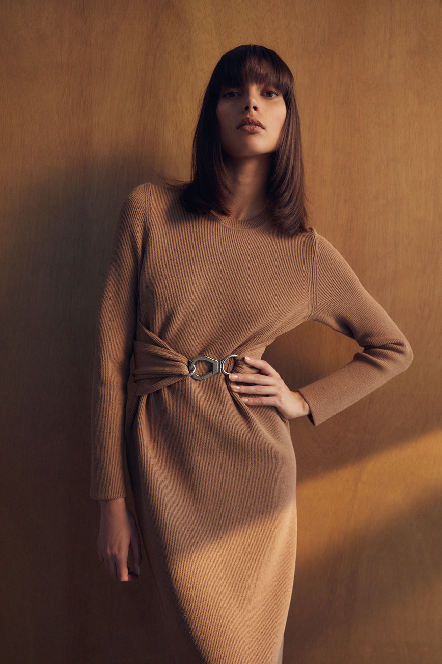 Crepe Knit Belted Dress Latte - Scanlan Theodore