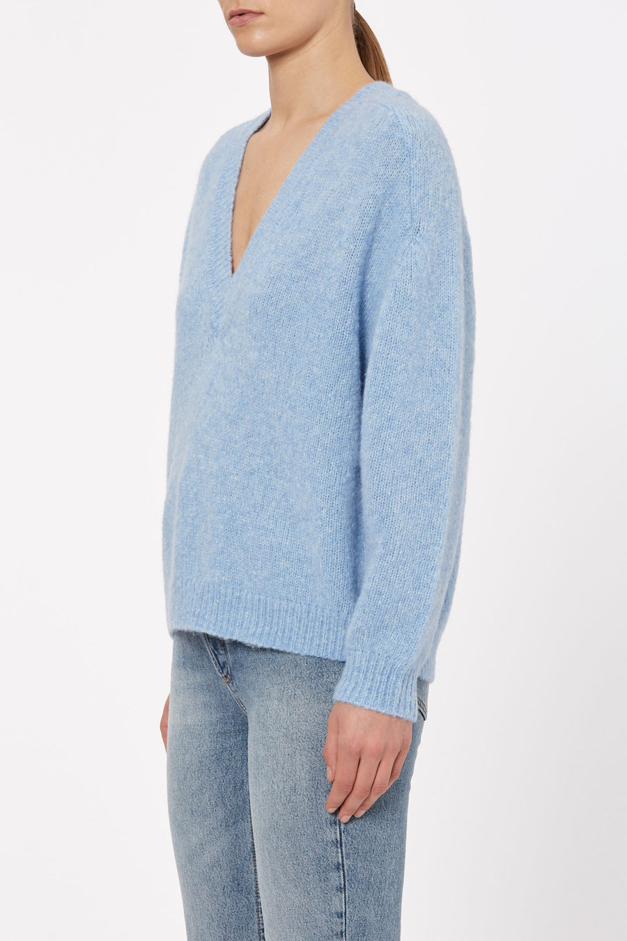 the Alpaca V Neck Sweater. Fabricated from a soft alpaca wool blend