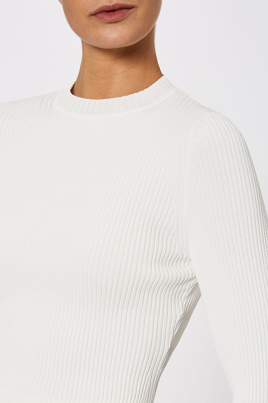 Crepe Knit Rib Sweater Cream - Scanlan Theodore
