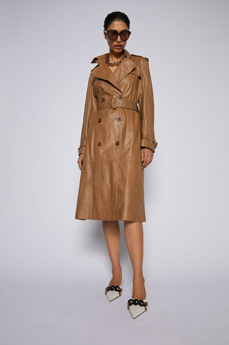 Leather Trench Camel - Scanlan Theodore