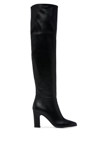 Leather Knee High Boot 8.5 is a round pointed toe boot with a leather lining and leather sol