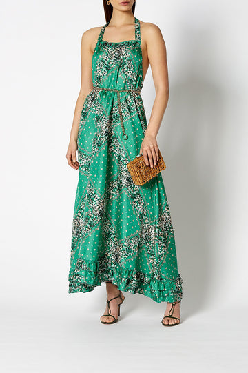 The Bandana Paisley Dress is anything but ordinary. With a halter top and open back
