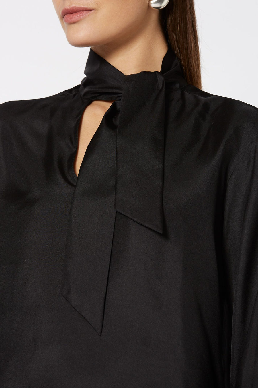 Silk TIe Neck Blouse Black, Loose Fit, Long Sleeves, Tie Neck Cravat