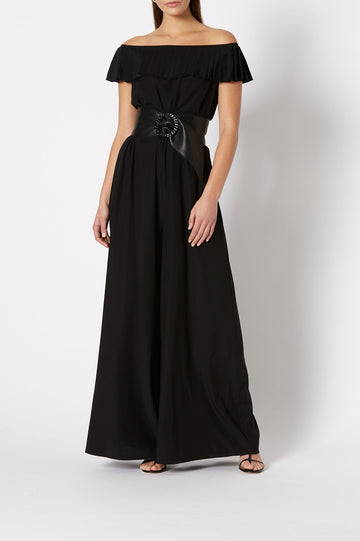 Silk Ruffle Jumpsuit Black - Scanlan Theodore